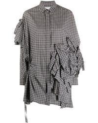 Enfold Ruffle Detail Checkered Shirt - Black
