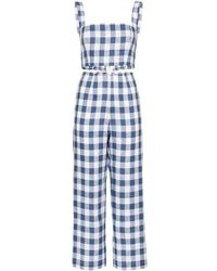 Reformation Mara Check Print Two-piece Set - Blue