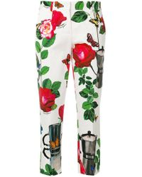 Dolce & Gabbana - Floral Print Cropped Trousers - Lyst