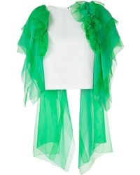 Delpozo Ruffled Tulle Cropped Blouse - Green