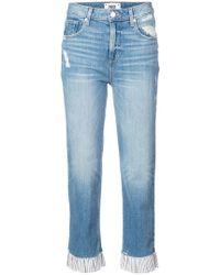 PAIGE - Ruffle Trim Straight Leg Jeans - Lyst