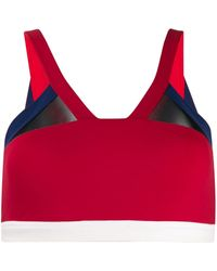 Perfect Moment Mesh-trimmed Sports Bra - Red