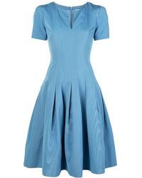 Oscar de la Renta Plunge-neck Tea Dress - Blue