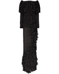 Balmain Vestido con hombros descubiertos y volantes - Negro
