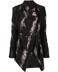 Masnada Brush Print Belted Jacket - Black