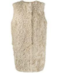 Yves Salomon Sleeveless Fur Detail Coat - Grey