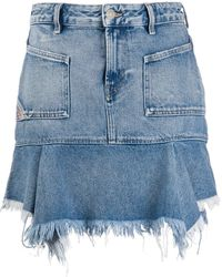 DIESEL - Frayed Denim Skirt - Lyst
