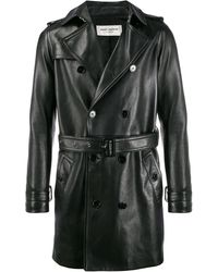 Saint Laurent Leather Trench Coat - Black