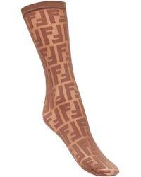 Fendi - Logo Embroidered Socks - Lyst