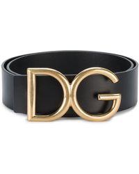 Dolce & Gabbana Gold Initials Belt - Zwart