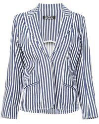 Rockins Striped Cropped Blazer - Blue