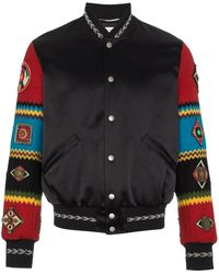 Saint Laurent Wool Varsity Jacket With Embroidered Sleeves - Zwart
