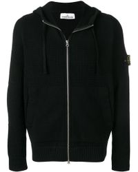 Stone Island - Logo Patch Ribbed Hoodie - Lyst