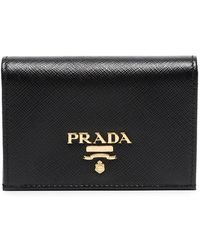 Prada - Black Logo Leather Wallet - Lyst