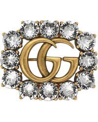 Gucci Metallic Double G-broche Met Kristallen