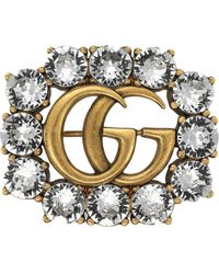 Gucci Metal Double G Brooch With Crystals - Metallic