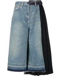 Sacai クロップド ワイドジーンズ - ブルー