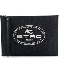 Etro Paisley-print Embroidered Clutch - Blue