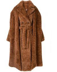 Ruban Mantel aus Faux Fur - Braun