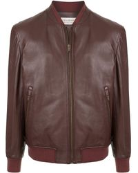 Gieves & Hawkes Leather Bomber Jacket - Red