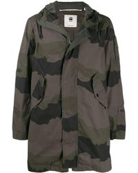 G-Star RAW Camouflage Print Hooded Parka - Green