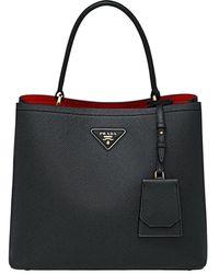 Prada Double Saffiano Leather Bag - Black