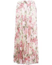 P.A.R.O.S.H. Faltenrock mit Blumen-Print - Pink