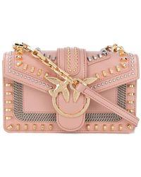 Pinko Love Stud-embellished Crossbody Bag - Pink