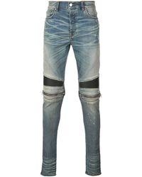 Amiri Skinny Jeans Met Rits Op De Knieën - Blauw