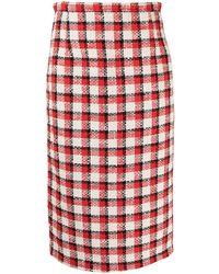 N°21 Jupe mi-longue en tweed - Rouge