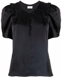 Zadig & Voltaire Puff Sleeve Satin Blouse - Black