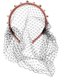 RED Valentino - Red(v) Embellished Mesh Hairband - Lyst