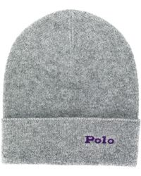 Polo Ralph Lauren Ribbed Cashmere Beanie - Grey