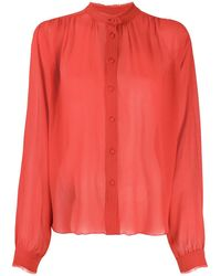 Forte Forte Raw-edge Silk-crepe Blouse - Red