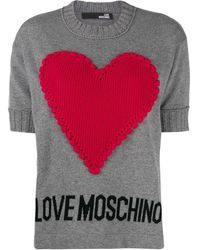Love Moschino Heart-appliquéd Jumper - Grey