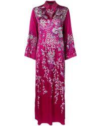 Josie Natori Aurora Mandarin Kaftan Dress - Pink