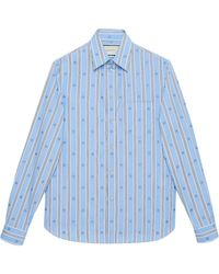 Gucci Shirt Met Streep - Blauw