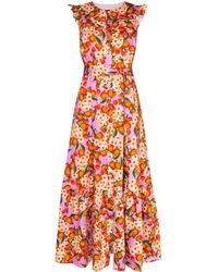 Borgo De Nor Gabriella Ruffled Fruit-print Maxi Dress - Pink