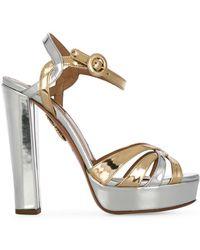 Aquazzura - Metallic Love Affair Plateau 130 Sandals - Lyst