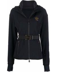 3 MONCLER GRENOBLE Logo-patch Belted Coat - Black