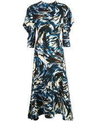 Proenza Schouler - Платье С Принтом И Объемными Рукавами - Lyst
