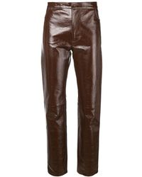 AMI Patent Leather Trousers - Brown