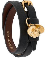 Alexander McQueen Skull Double-wrap Bracelet - Black