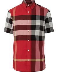Burberry Short-sleeved Check Shirt - Red
