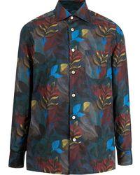 Kiton スプレッドカラー フローラル シャツ - ブルー