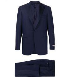 Canali Fine knit pleat detail suit - Bleu