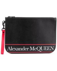 Alexander McQueen Clutch Met Logo - Zwart