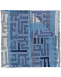 Etro Sciarpa con frange - Blu