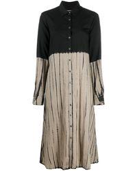 Suzusan タイダイ シャツドレス - ブラック