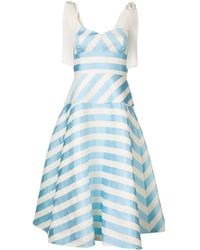 Delpozo ストライプ Aライン ドレス - ブルー